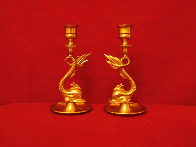 Two Vintage Brass Koi Fish Serpent Candlestick Holders, Beautiful, Fanciful