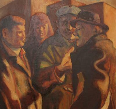 1959 Vintage Signed HMG Social Realist Several Figures Oil Painting, NR