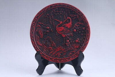 Oriental Vintage Delicate Lacquer carved Plate  aa359