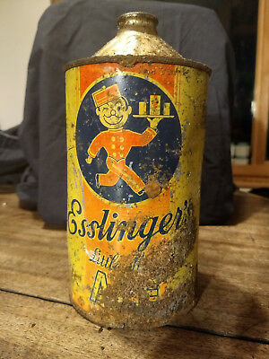 Vintage 1938 Cone Top Beer Can Esslinger's Little Man Ale One Quart Very Clean