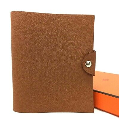 100% Authentic HERMES Ulysse PM Brown Togo Leather Notebook Cover /e47