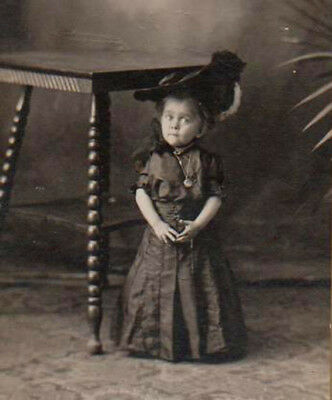 Amazing TINY CIRCUS MIDGET UNDER TABLE Rare FREAK PHOTO! Antique! ACCIDENT DEATH