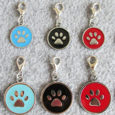 100pcs/lot Zinc Alloy Round Shaped Pet Dog ID Tags Cat Name Tags with Paw Design
