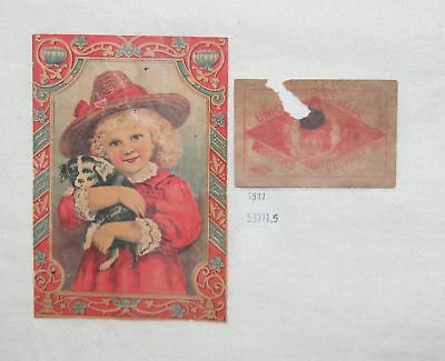 ThriftCHI ~ Antique Color Litho Paper Trunk Label w Girl & Puppy Dog