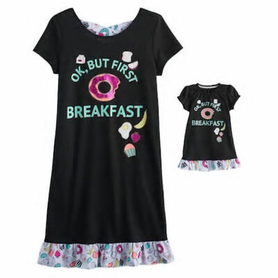 NWT Girls Breakfast Nightgown Matching Doll Gown Fits American Girl Dollie    Me d6197bc8b