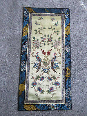 Stunning old pair of Chinese silk embroidered sleevebands (T33)