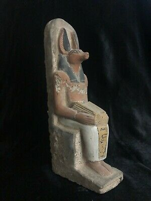EGYPTIAN ANTIQUE EGYPT STATUE God Anubis Jackal Head Dog Carved STONE 2685 BC