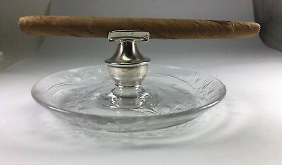 Antique HAWKES Sterling Silver & Brilliant Cut Glass Cigar Rest & Ashtray