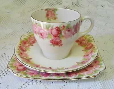 Vintage Royal Doulton Raby Rose Trio Cup Saucer Square Plate Made In England