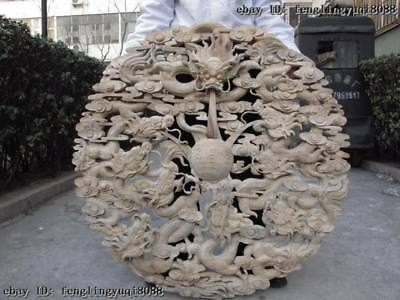 China Wood Pure Handwork Carving Nine Dragon Play Ball Bead Flower plate Screen