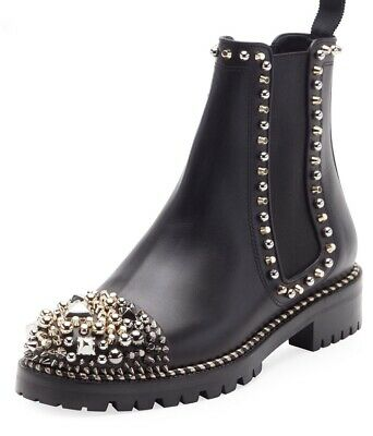 2802adb58627 New Christian Louboutin Chasse A Clou Black Studded Ankle Bootie Boot 38.5