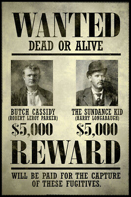 Wanted Butch Cassidy The Sundance Kid Art Print Poster 12x18 inch