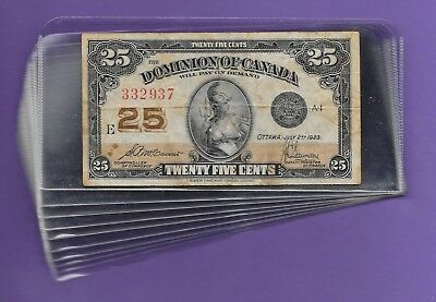 "PLASTIC BANK NOTE SLEEVES 6"" x 3"" 10 PCS"