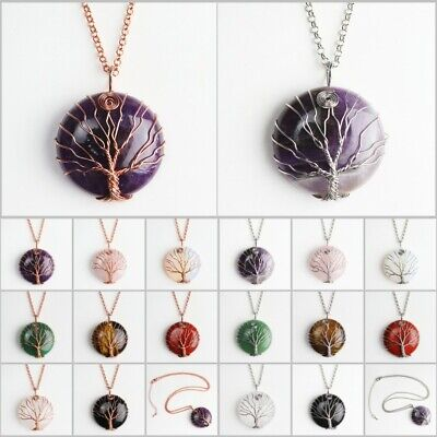 Natural Gemstones Amethyst Round Tree of Life Rose Gold Chakra Pendant Necklace