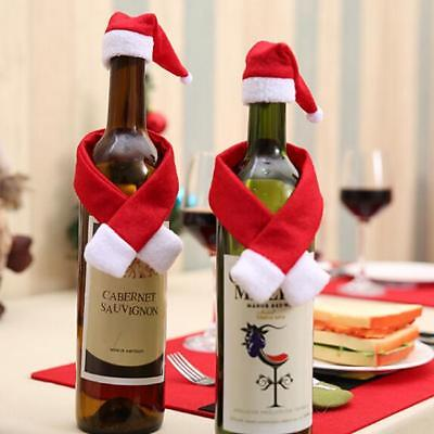 Christmas Santa Xmas Eve Party Decor Wine Champagne Bottle Cover Gift Hat Scarf