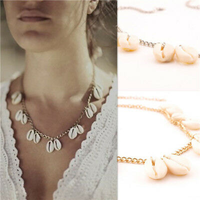 White Shell Pendant Charm Choker Necklace Chain Women Beach Jewelry MH