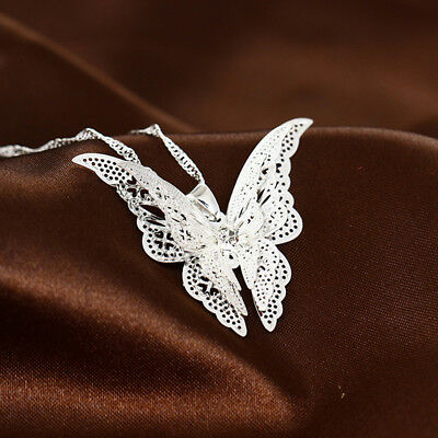 Novelty Lovely Butterfly Pendant Chain Necklace Women Ladies Jewelry MH