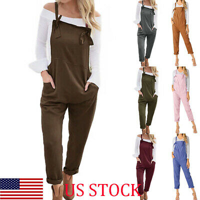 597d63bf5d Womens Vintage Retro Cotton Linen Jumpsuit Playsuit Long Pants Trousers  Overalls