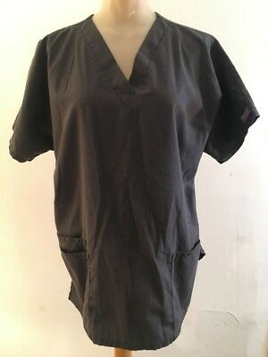 CHEROKEE WORKWEAR Women's Size S Charcoal gray short sleeve v-neck scrub top