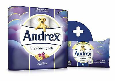 Andrex Supreme Quilts Toilet Bog Loo 54 Rolls Tissue Paper Plush Layers 4-Ply