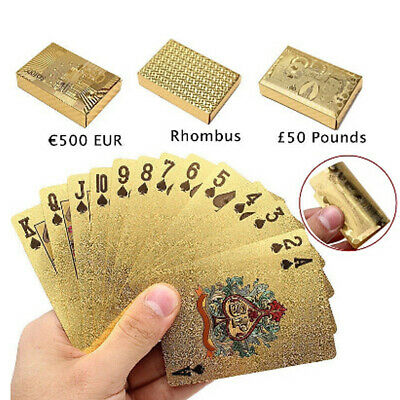 54 Playing Poker Cards Waterproof Vintage 24k Gold Foil Plated Cover Table Games