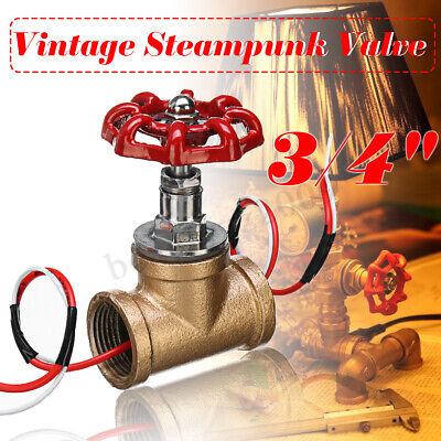 Vintage Steampunk 3/4'' Stop Valve Light Switch With Wire For Water Pipe Lamps