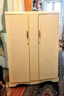 Small White Art Deco Wardrobe/Cupboard