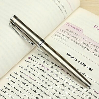 Classic BAOER 3035 Stainless Steel Metal Silver Medium Nib Fountain Pen 0.5mm