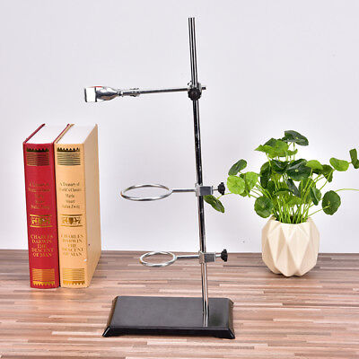 50Cm Chemistry Laboratory Retort Base Stand Support Lab Fla Clamp+3 Ring ClampHH