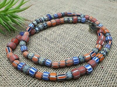 Strang 72 cm bunte Glasperlen african chevron star trade beads 7-12 mm