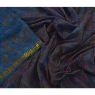 Sanskriti Vintage Blue Saree Pure Silk Printed Sari Craft Zari Border Fabric