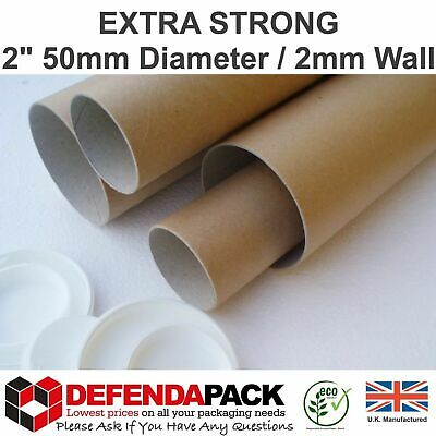 """100 x 25 x 2"""" A1 635mm x 50mm 2mm Wall Extra Strong Postal Tubes Posters Prints"""