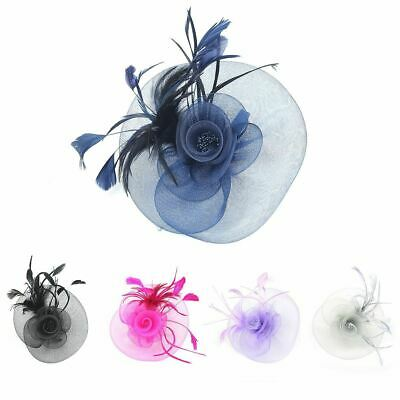 Large Feather Flower Net Elegant Fascinator Royal Ascot Races Wedding