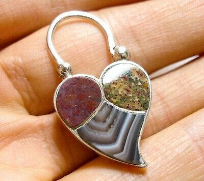 Beautiful Antique Victorian Scottish Silver & Agate Heart Padlock Clasp (A33)