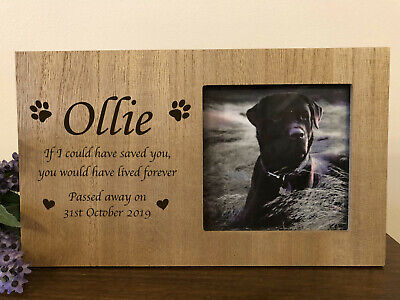 Personalised Wooden Pet Memorial Photo Frame - Pawprints Cat Dog - Any Name