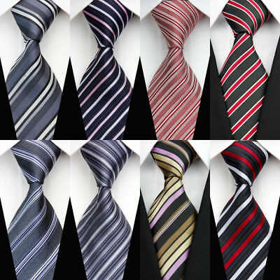 8pcs/Pack Classic Mens Bundles Tie Red Blue Silk Striped Woven Necktie Wedding