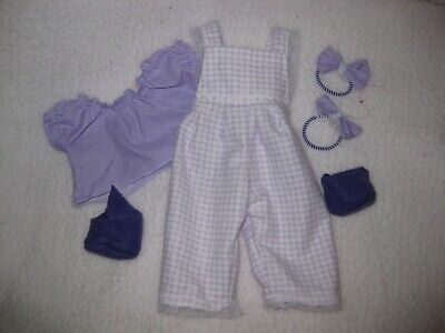 CPK doll clothes/14 inch/purple gingham checked overalls/purple blouse/hair bows