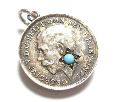 Beautiful Antique Silver Coin Charm With Turquoise Paste Stone (A40)