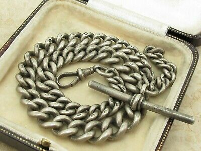 Antique Heavy Sterling Silver Pocket Watch Graduated Albert Chain 66.7 grams
