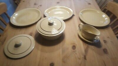 Poole Pottery Broadstone 3 x Oval Plates, Gravy Boat and Vegetable dish