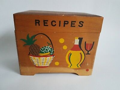 Vintage Made in Japan Painted Wooden Recipe Card box