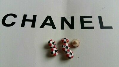 Lot of 6 Vintage Chanel CC Logo  black red  wchite  Buttons 11 mm rare