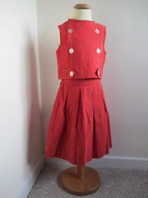 Vintage girls outfit matching skirt and top age 7 red 50's