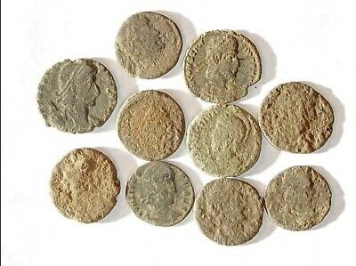 10 ANCIENT ROMAN COINS AE3 - Uncleaned and As Found! - Unique Lot 01146