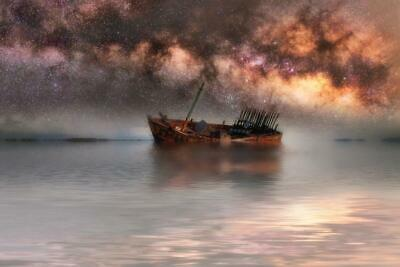 Milky Way Galaxy in Sky Above Old Shipwreck Photo Art Print Poster 24x36 inch