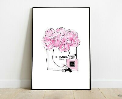 Chanel Fashion Print Pink For Home Decor Gift Dressing Room Print A4