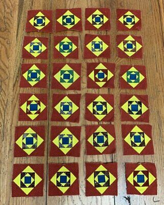 Tiny Tiny! c 1860 Small Scale QUILT Blocks BLUE Yellow Antique