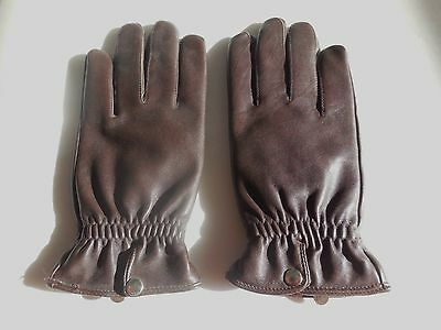 *Wilson Ladies Dk Brown Leather Winter Gloves Polyester Thinsulate Lining Size L