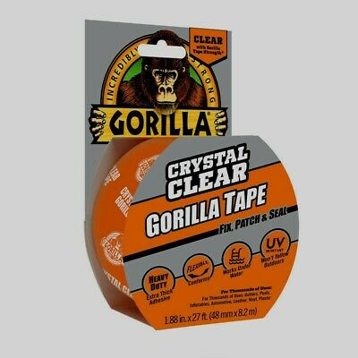 Gorilla Tape 27' CRYSTAL CLEAR Adhesive Extra Thick Waterproof Repair Duct NEW!!
