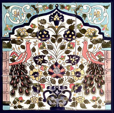 Tile Mural with Peacocks 18X18 Inch Handmade In/Outdoor Kitchen Backsplash
